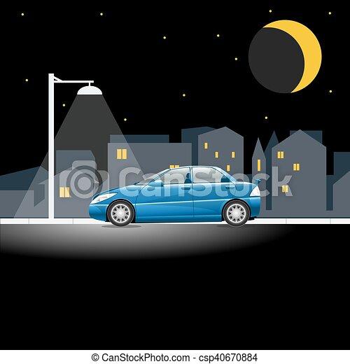 bleu, ville, voiture, rue, nuit, vide - csp40670884