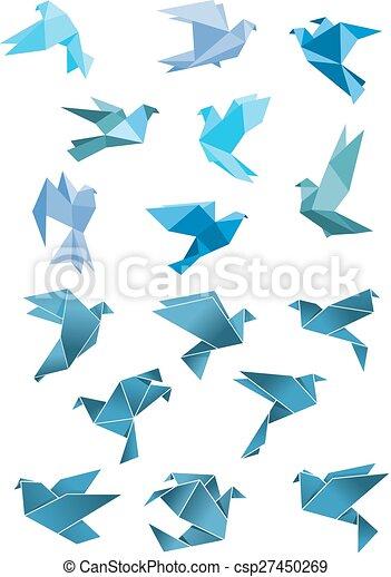 Bleu, Voler, Stylisé, Papier, Origami, Oiseaux   Csp27450269
