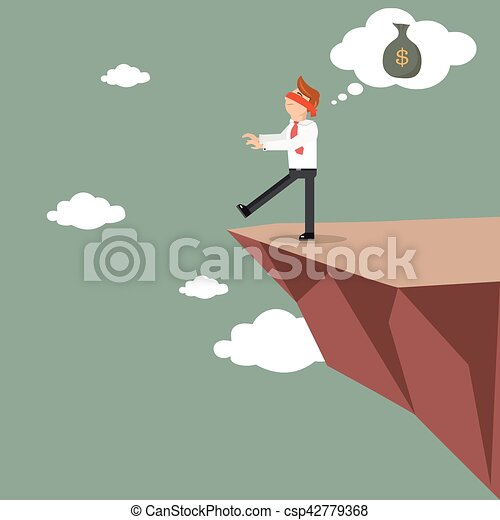 Blind business man on the cliff looking for money - csp42779368