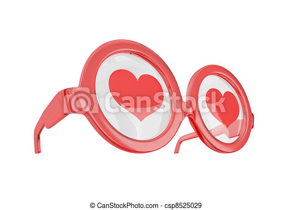 Clip Art Line Of Hearts : Blind love concept glasses with hearts isolated on white stock