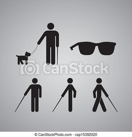 Blind man symbol on gray background.