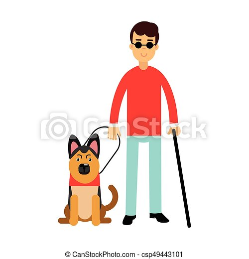 Blind man in dark glasses with walking stick and his dog ...