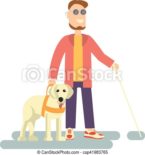 Blind person with guide dog - csp41983765