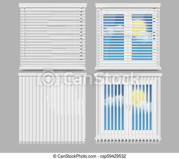Blind Window Curtains Vector Realistic Mockup Set Window Blinds