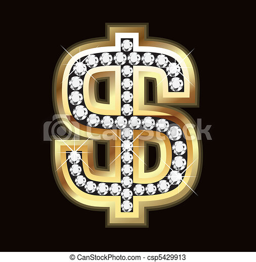 Bling dollar sign - csp5429913