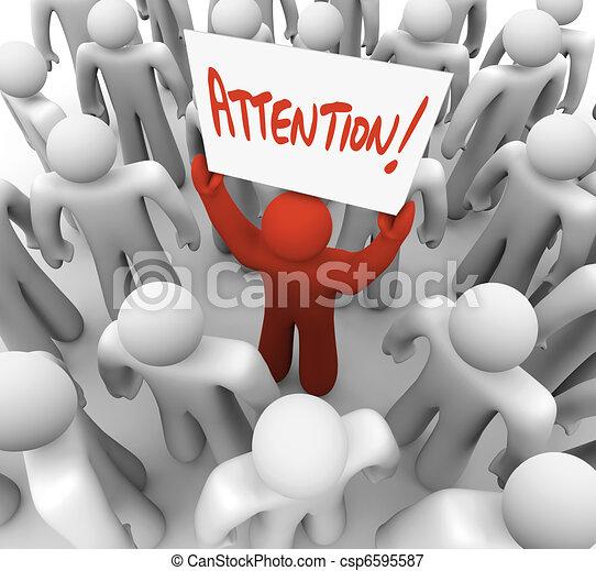 blive, flok, opmærksomhed, recognized, tegn, person, holde - csp6595587