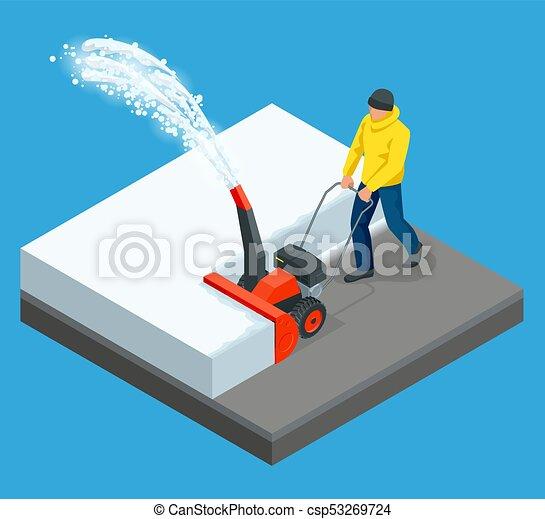 Un hombre limpia la nieve de las aceras con un quitanieves. Ciudad tras ventisca. Ilustración de vectores - csp53269724