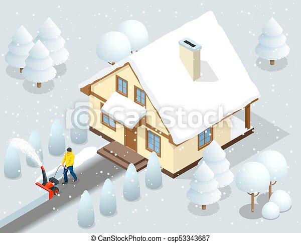 Un hombre limpia la nieve de las aceras con el patio trasero de nieve fuera de su casa. Ciudad tras ventisca. Casa cubierta de nieve. Ilustración de vectores - csp53343687