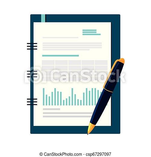 bloc-notes, isolé, bureau, icône - csp67297097