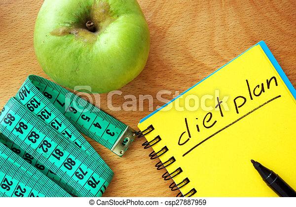 Notepad con palabras plan de dieta - csp27887959