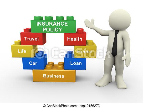 blocchi, uomo affari, polizza assicurazione, giocattolo, 3d - csp12156273