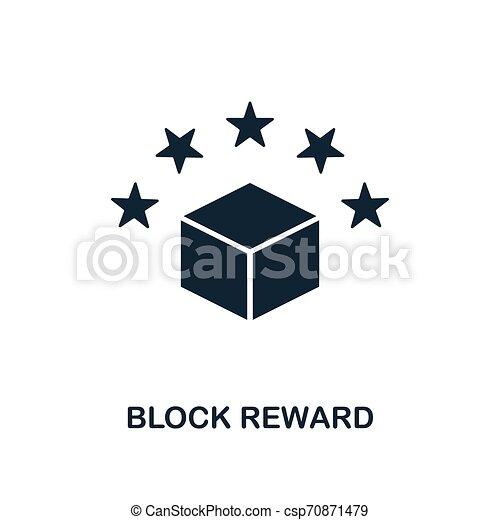 Block Reward icon. Monochrome style design from blockchain icon collection. UI and UX. Pixel perfect block reward icon. For web design, apps, software, print usage. - csp70871479