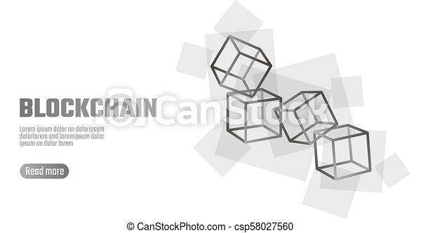 blockchain cube chain symbol on square code big data flow. Black Bedroom Furniture Sets. Home Design Ideas