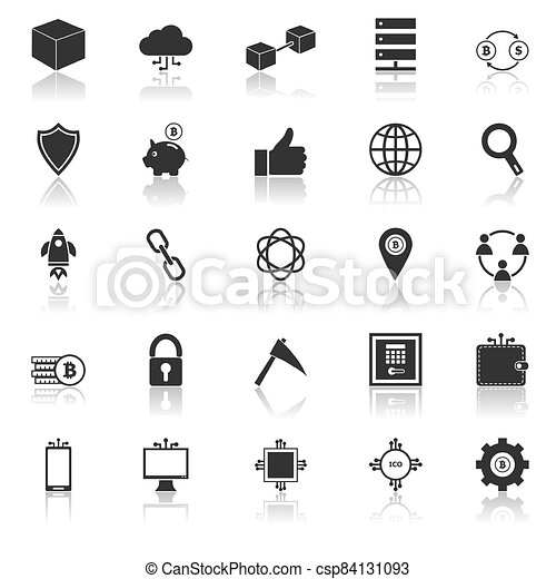 Blockchain icons with reflect on white background - csp84131093