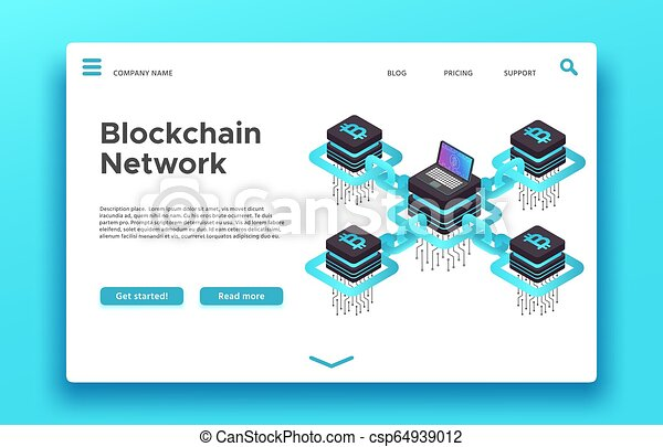 Blockchain landing page  Isometric cryptocurrency mining vector web design