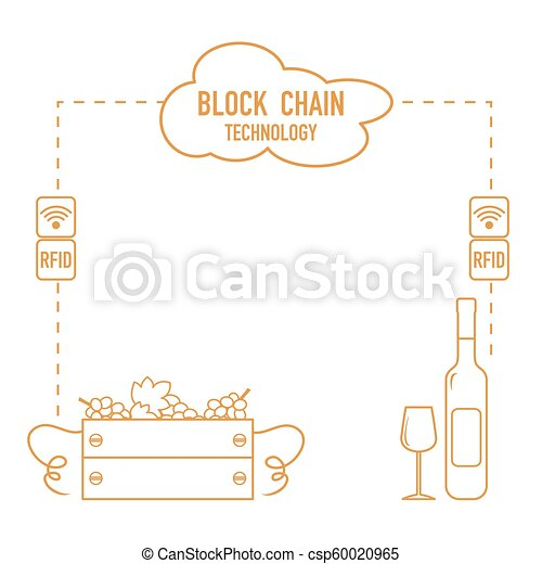 Blockchain. RFID technology. Winemaking. - csp60020965