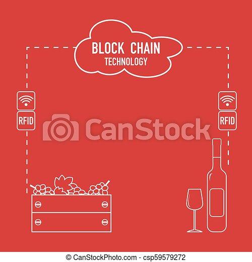 Blockchain. RFID technology. Winemaking. - csp59579272