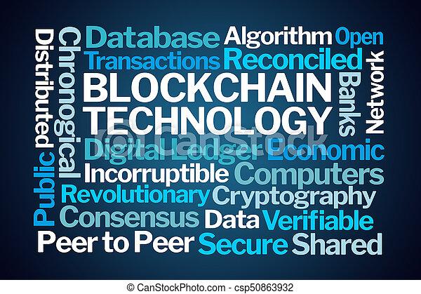 blockchain, szó, technológia, felhő - csp50863932