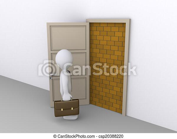 Blocked doorway and a businessman - csp20388220