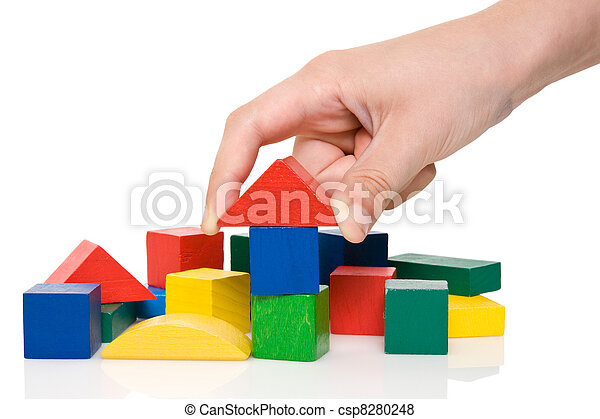 blocks, цветной, здание, делать, рука - csp8280248