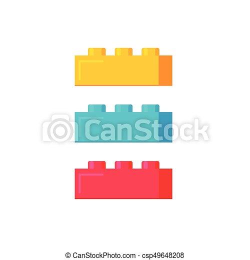 Blocks construction toys vector illustration, flat cartoon plastic color building blocks or bricks toy isolated - csp49648208