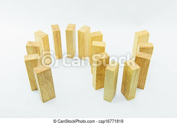 Blocks of wood isolated on white background - csp16771819