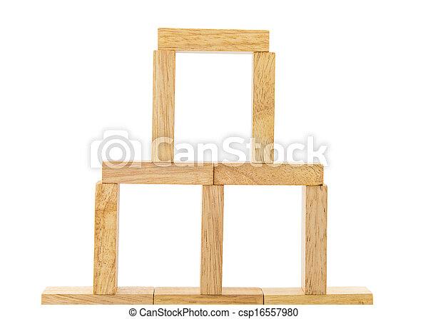 Blocks of wood isolated on white background - csp16557980