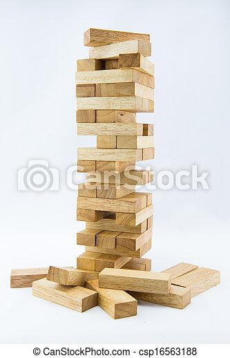 Blocks of wood isolated on white background - csp16563188