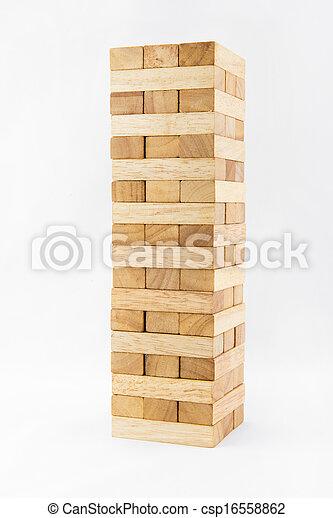 Blocks of wood isolated on white background - csp16558862