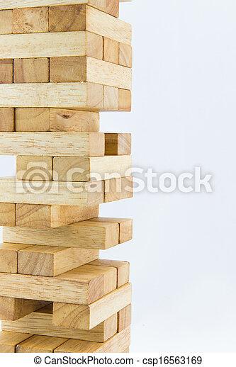 Blocks of wood isolated on white background - csp16563169