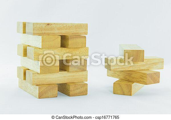 Blocks of wood isolated on white background - csp16771765