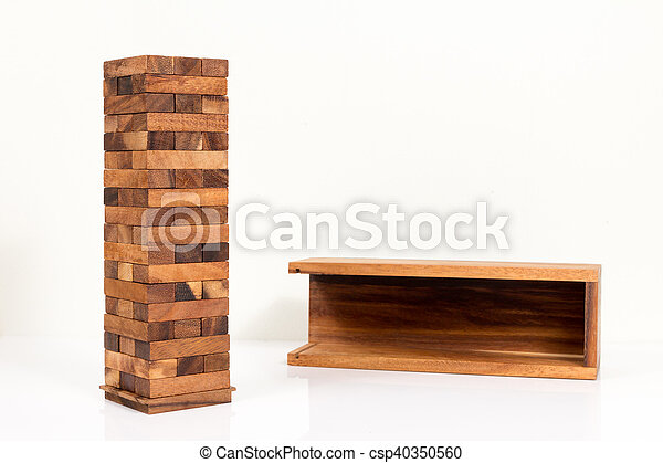 Blocks of wood isolated on white background,Strategy game as a business plan. - csp40350560