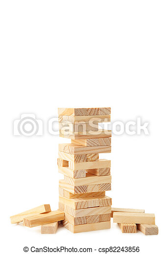 Blocks of wood isolated on white background. Tower - csp82243856