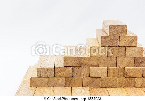 Blocks of wood isolated on white background - csp16557923