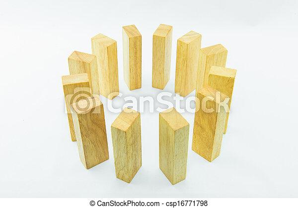 Blocks of wood isolated on white background - csp16771798