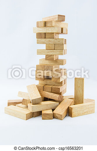 Blocks of wood isolated on white background - csp16563201