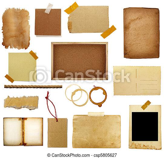 bloco de notas, grunge, pedaço - csp5805627