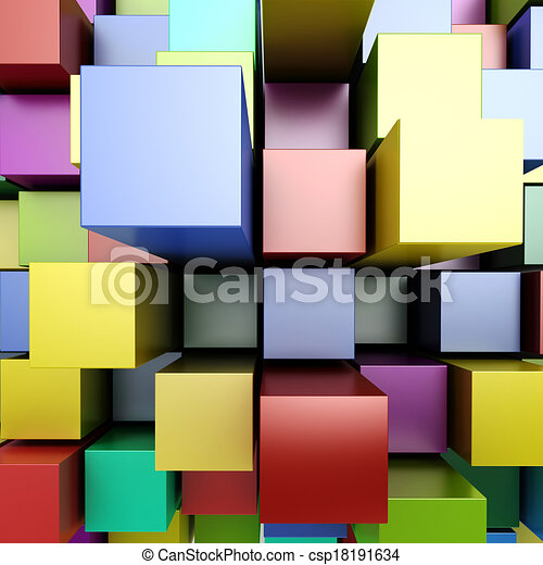 blocos, coloridos, fundo, 3d - csp18191634