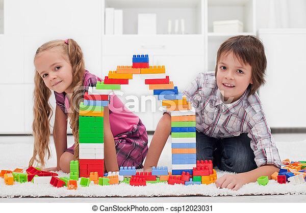 blocos, crianças, feliz - csp12023031