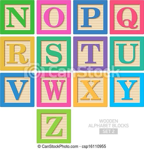blocos madeira alfabeto - csp16110955