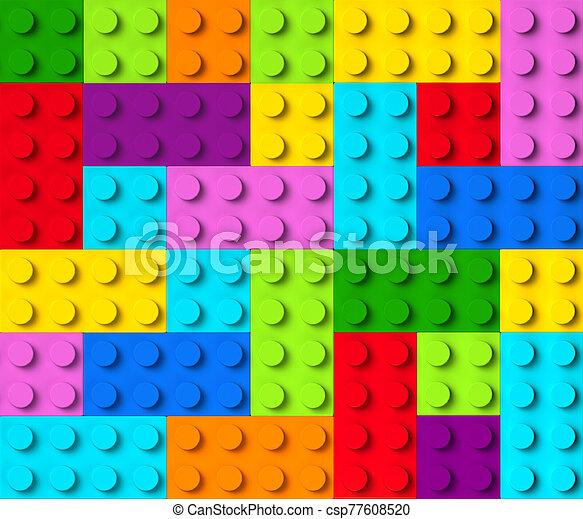 blocs, coloré, vue, bâtiment, 3d, sommet - csp77608520