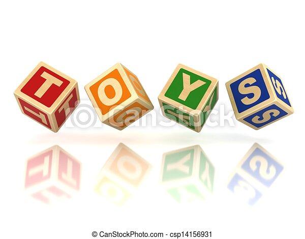blocs, jouets, bois - csp14156931