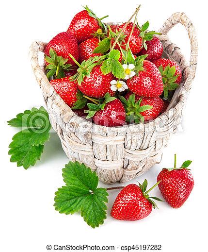 bloem, blad, aardbei, groene, mand, fris - csp45197282