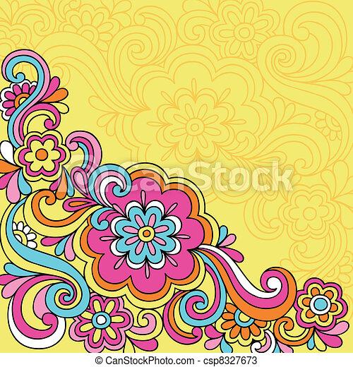 bloem, doodles, psychedelic, aantekenboekje - csp8327673