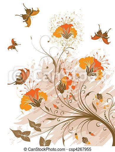 bloem, grunge, achtergrond - csp4267955
