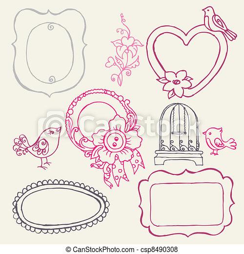 bloem, zoet, -, vector, doodle, lijstjes, vogels, communie - csp8490308