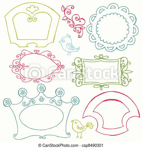 bloem, zoet, -, vector, doodle, lijstjes, vogels, communie - csp8490301