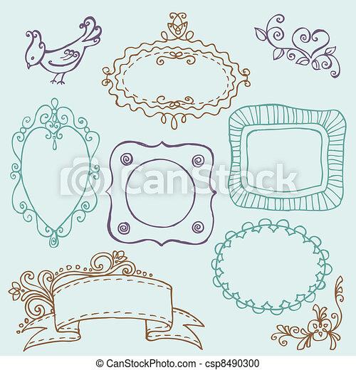 bloem, zoet, -, vector, doodle, lijstjes, vogels, communie - csp8490300