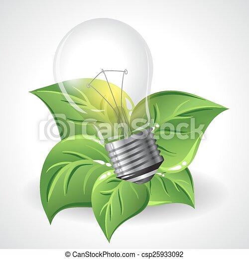 bloembollen, concept, besparing, macht, licht, energie, -, groene - csp25933092