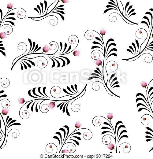 bloemen, distel, seamless, textuur - csp13017224